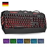 Rii RK900 Gaming Tastatur USB, 7 Farben beleuchtete Tastatur, 19 Tasten Anti-Ghosting, Wired Keyboard ideal für Gaming und Büro (Deutsch Layout, Schwarz)