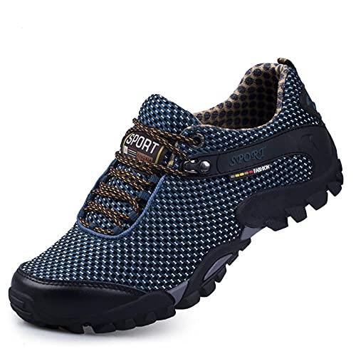 Y-PLAND Zapatos de Senderismo al Aire Libre de Cuero para Hombres, Zapatos de Senderismo Suela Antideslizante, Zapatos de Seguimiento de Camping al Aire Libre-Azul_EU39