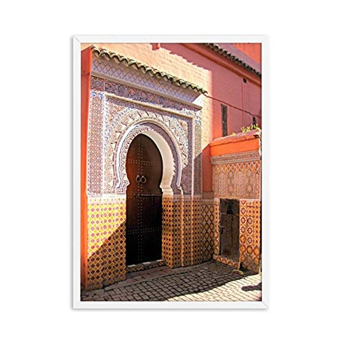 (Geen frame) 60x80 CM Wall Art Modulaire Prints HD Foto Nordic Stijl Poster Oude Poort Marokko Schilderen Moderne Canvas Voor Woonkamer Home Decor