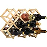 Soporte Plegable para Vaso de Madera Maciza, Suministro de Botella de Vino de pie rústico, Organizador de Vino para el hogar del gabinete de Cocina (10 Botellas)