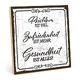 TypeStoff Holzschild mit Spruch – Gesundheit IST Alles - Shabby chic Retro Vintage Nostalgie deko Typografie-Grafik-Bild bunt im Used-Look aus MDF-Holz (19,5 x 19,5 cm)