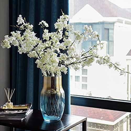 Kaftor Ramo de flores artificiales de cerezo para boda con hojas, decoración para árbol de Navidad...