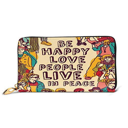 Women's Long Leather Card Holder Purse Zipper Buckle Elegant Clutch Wallet, Group People Motivational Illustration with Be Happy Love People Live In Peace Phrase,Sleek and Slim Travel Purse