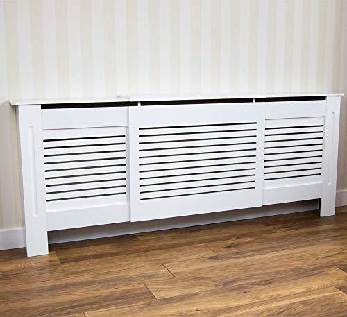 Vida Designs Milton Erweiterbare Heizkörperverkleidung, Schutz, mit Regalablage, Gittermuster, Modern, Weiß