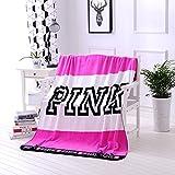 ADXJ Kint Throw Blankets Pink Vs Secret Blanket Manta Coral Flannel Blanket Sofa/Couch Bed/Plane Travel Plaids Victoria Tv Blanket,130X160 Pink