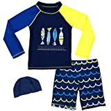 Baby Boys Two Piece Rash Guard Swimsuits Kids Long Sleeve Sunsuit Swimwear Sets with Hat (Fish, 3-4T(Height:95-110cm/37.1-42.9'))