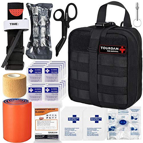 TOUROAM IFAK Molle Trauma Kit- Emergency Survival First Aid Kit, Military Tactical Admin Pouch EMT,...