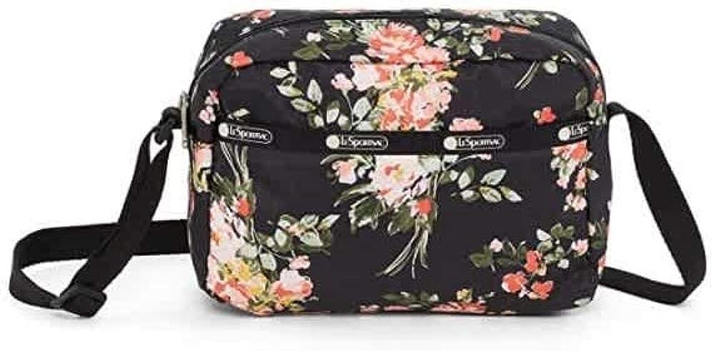 LeSportsac Garden Rose Daniella Crossbody Handbag, Style 2434/Color F632, Modern Multi-color Roses on Classic Black Bag