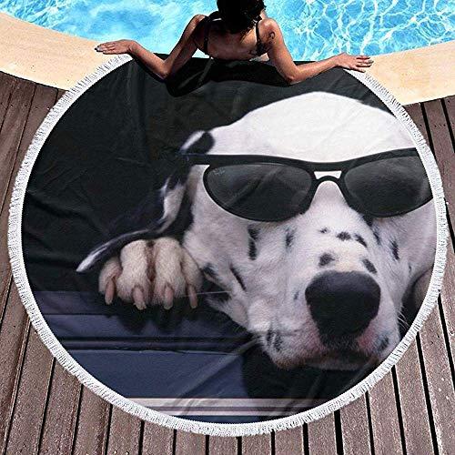 Duanrest Ronde Strandhanddoek voor Vrouwen, Koele Bril Hond Hippie Gelukkig Jeugd Handdoek Extra Grote Zand Bewijs Deken Yoga Mat met kwasten