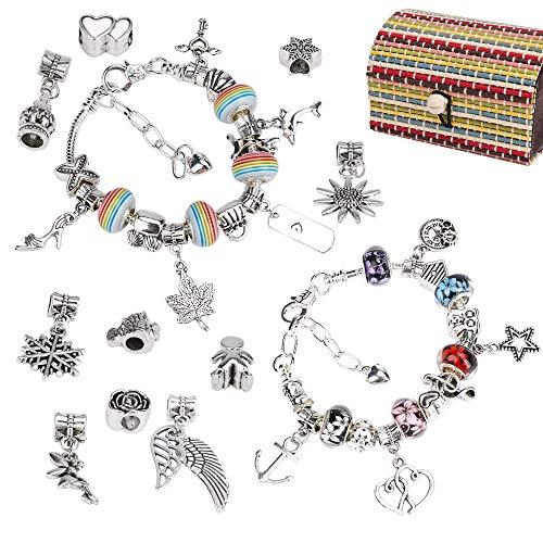 QH-Shop Charm Armband Kit DIY, 58Pcs Schmuckherstellung Bastelset mit Anhänger Farbe Perlen Silber Ketten, Handgemacht Geschenke für Mädchen Teens Geburtstag Jubiläum