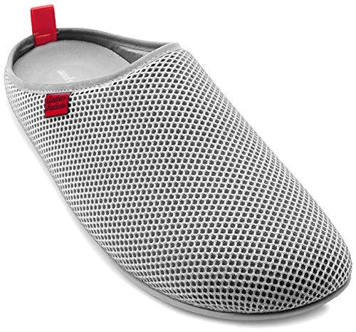 Andrés Machado - Unisex Hausschuhe für Damen/Herren – Sommer – Dynamic – Pantoffeln Slipper - atmungsaktive Netzstruktur – rutschfeste Gummisohle/herausnehmbares Fußbett - Grau EU 38