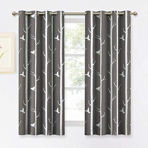 KGORGE Bedroom Blackout Curtains Farmhouse - Thermal Insulated Contemporary Tree and Bird Printed Grommet Draperies for Living Room Kitchen Dining Kids Room, 1 Pair, 52 x 63 inches Long, Toffee-Grey