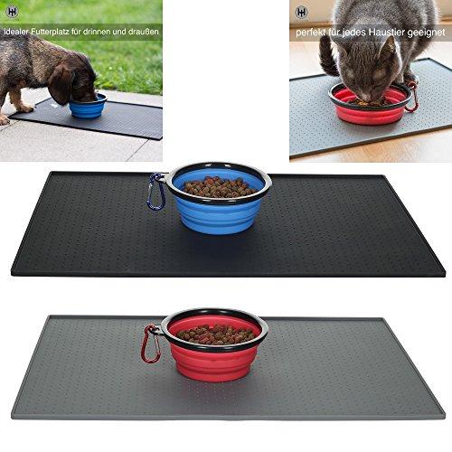 Rutschfeste Napfunterlage / Futtermatte für kleine Hunde, Katzen und Haustiere. Wasserdicht und mit hohem Rand damit alles sauber bleibt. Den praktischen, faltbaren Reisenapf gibt es gratis dazu.