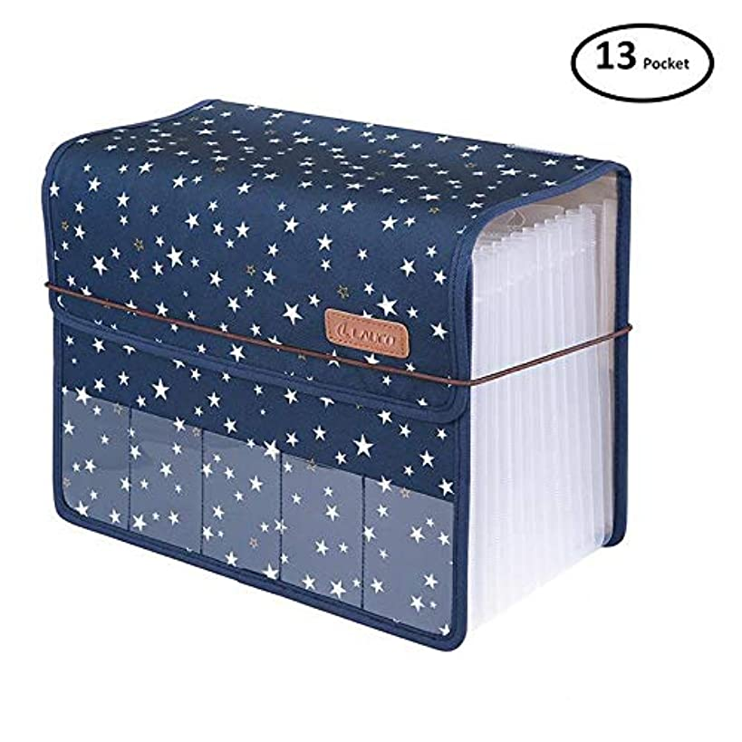 JIEQI Expanding Files Folder A4 Accordion Organizers with Cover 13 Pockets, Expander Storage Wallets,Expandable Filing Folders Large Space,Office School Document with Tab for Sheets Paperwork (Blue)