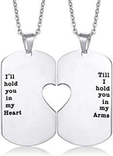 6d599b040b Mealguet Jewelry His and Hers Stainless Steel Matching Heart Dogtag Love  Quote Engraved Pendant Necklace,