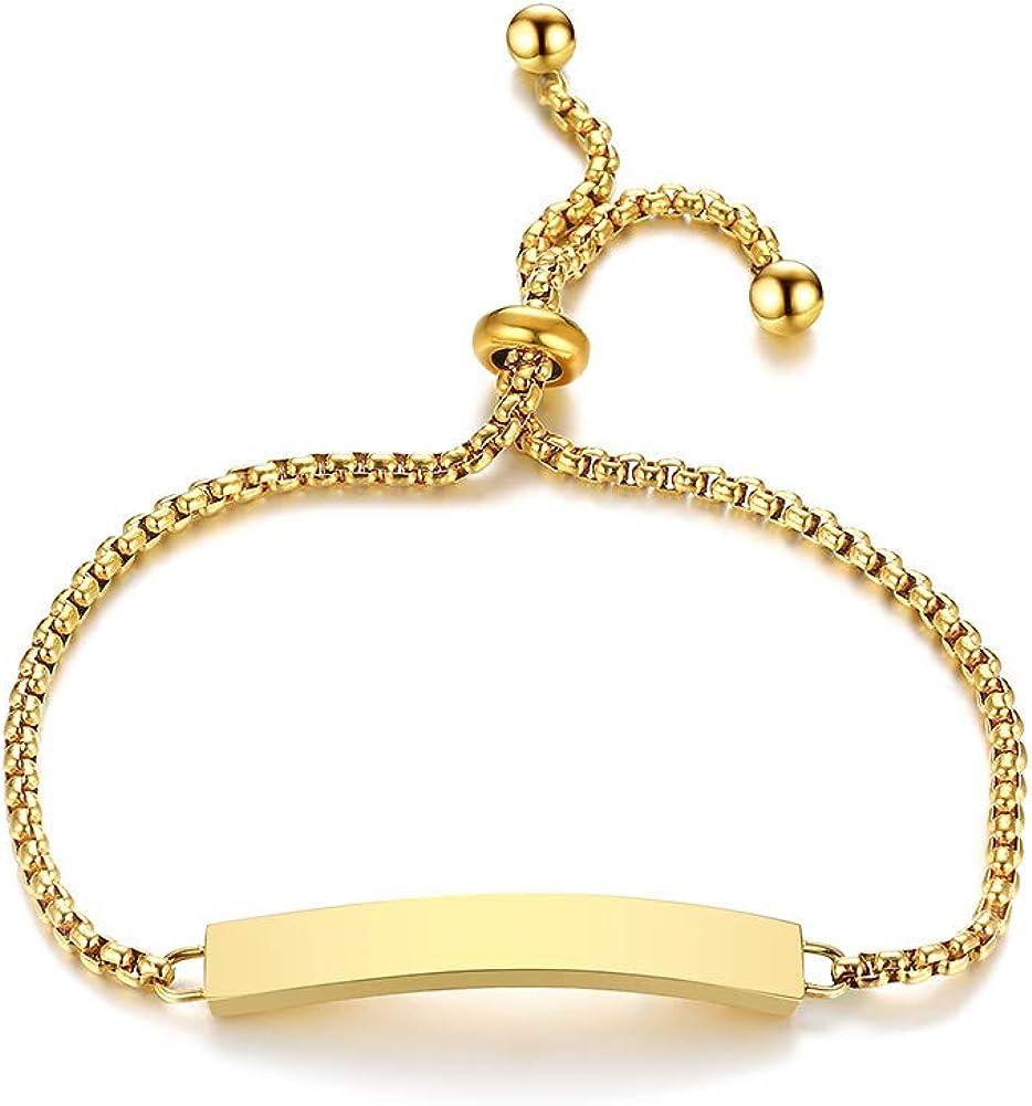VNOX Customize Rolo Chian Id Link Bracelet Personalized Inspirational Mantra Quote Bracelet for Women Girls,Adjustable