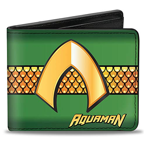 Buckle-Down Faltbare Brieftasche aus Polyurethan, Aquaman, Klassische Icon/Waage, gestreift, Grün / goldfarben