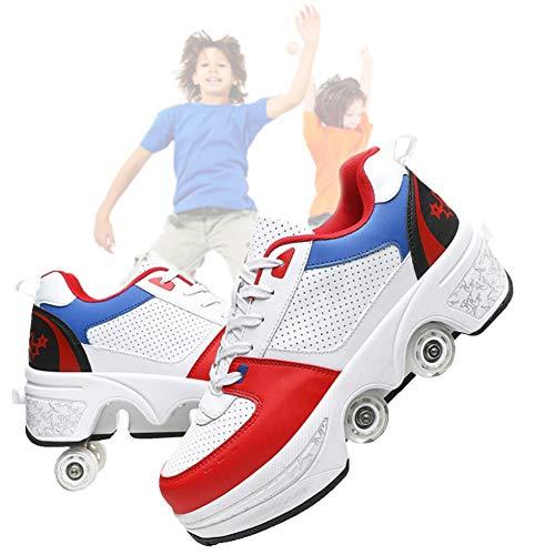 Zapatos Deformados para Niños Zapatos De Rodillos para Niños Zapatos Skating Skating Sports Outdoor Roller Patines Lazy Travel Fashion,White Red,41