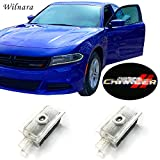 WILNARA Dodge Charger Car Door LED Logo Courtesy Step Lamp Projector Ghost Shadow Puddle Light for Dodge SRT R/T SXT GT - (R-CHARGER-25)