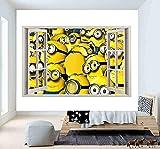 Etiqueta de la pared 60×90cm Minions 3D ventana pared pegatina cartel vinilo dormitorio...