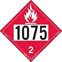 Labelmaster ZEZ81075 UN 1075 Flammable Gas Hazmat Placard, E-Z Removable Vinyl (Pack of 25)
