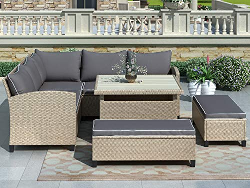 LZ LEISURE ZONE Patio Furniture Set Outdoor Dining Table Set Wicker Rattan Sectional Sofa with Table & Benches for Backyard, Garden, Poolside