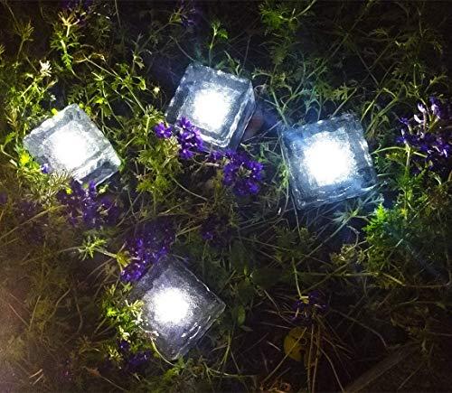 Ameelie LED ソーラーライト ガーデンライト 地中埋込型ライト センサーライト 太陽光パネル 感光式 光センサー スポットライト 自動充電 夜間自動点灯 防水対応 ソーラー式 埋め込み式 アウトドア 玄関先 庭園 芝生 車道 歩道 一灯 (クール