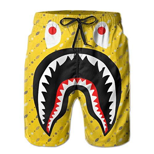 Boys Comfort Swim Trunks for Beach Athletic Sport Fast Dry Full Elastic Drawstring Basic Half Pants with Pocket Lining, Swimwear Yellow Geometric Shark Small Spots and Dots Hipster Cargo Short