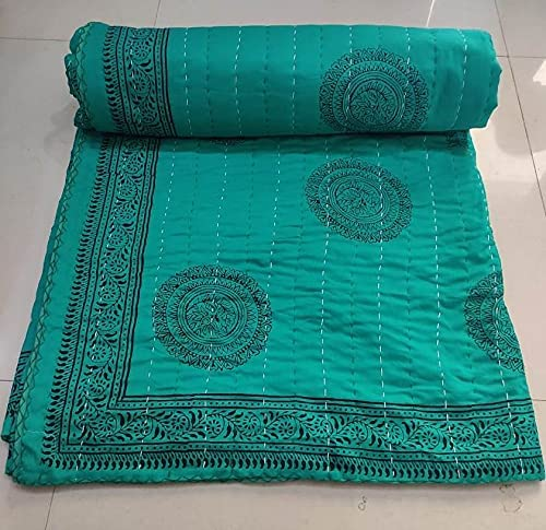 Indian Max 80% OFF Green Floral Print Kantha Room Bedding Quil Large Blanket Surprise price