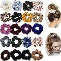 20 Pack Hair Scrunchies Ponytail Holder Elastic Hair Bands Hair Ties for Women Girls Teens Hair Accessories (10pcs Solid Color Velvet Hair Scrunchies,10pcs Chiffon Flower Hair Scrunchies)