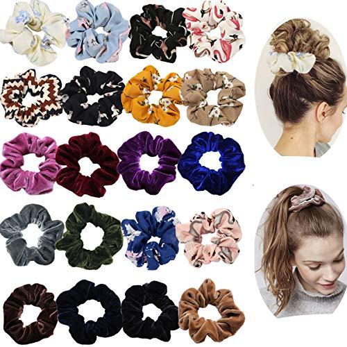 20 Pack Hair Scrunchies Ponytail Holder Elastic Hair Bands Hair Ties for...