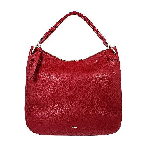 Furla Rialto 977641 Damen Hobo-Tasche aus genarbtem Leder, groß, Dunkelrot