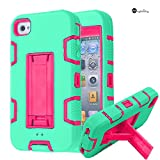 MagicSky iPhone 4s case, iPhone 4 case, Robot Series Hybrid Armored Case with Kickstand for Apple iPhone 4/4S - 1 Pack - Retail Packaging - Cyan