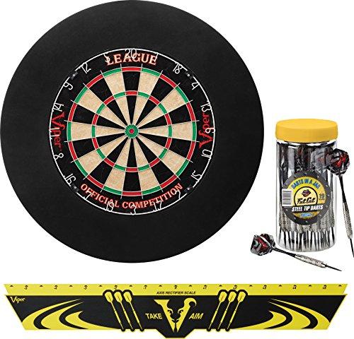 Viper Defender Backboard & Sisal/Bristle Steel Tip Dartboard Bundle: Deluxe Set (League Dartboard, Defender Backboard, Edge Throw Line, 21pc Jar of Darts)
