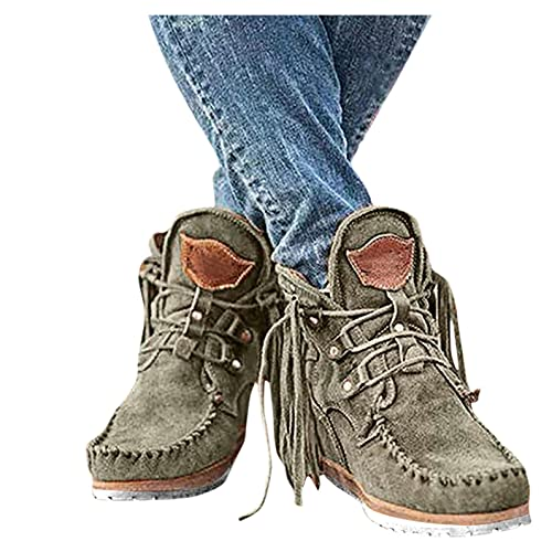 Cowboy Fringed Booties for Women, Winter Warm Cowgirl Suede Tassel Ankle Boots Comfy Round Toe Snow Shoes ,e33