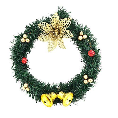 Sayla Weihnachten Dekoration Weihnachtskranz Türkranz Weihnachten Weihnachtsdeko Kranz Weihnachtsgirlande mit Kugeln Handarbeit Weihnachten Garland Deko-Kranz 25cm - 30cm (Gelb)