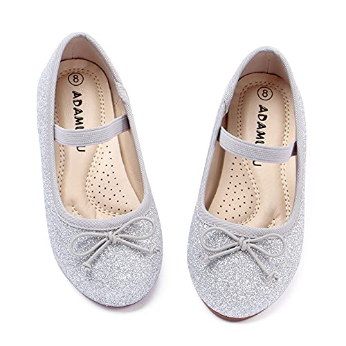 ADAMUMU Silver Dress Shoes for Girls Elastic Mary Jane Flat Glitter Shoes for Toddler Little Kids Princess Ballet in School Party Dailywear