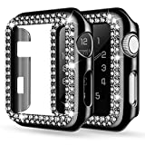adepoy Case Compatible with Apple Watch 38mm 40mm 42mm 44mm Bling Rhinestone Apple Watch Protector Case Bumper Frame Screen Protective Case Cover for iWatch Series 5/4/3/2/1 Black 44mm