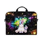 Funda para ordenador portátil de 13 13.3 14 15 pulgadas, Galaxy Nebulosa Starry Sentado Unicornio Sentado Corazón Bolsa de hombro Funda de ordenador con correa desmontable