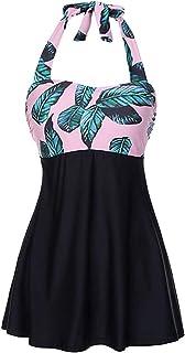 FeelinGirl Tankini bikini badmode baddräkt badklänning strandklänning nackhållare ett stycke push up badkläder med hotpant...