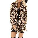 SALUCIA Damen Pelzmantel Leopard/Tiger Muster Warme Kunstpelz Mantel mit Kapuze Flauschige Fellmantel Nerzmantel Parka Jacke Wintermantel (EU-38 / Etikettengröße-L, Khaki 3)