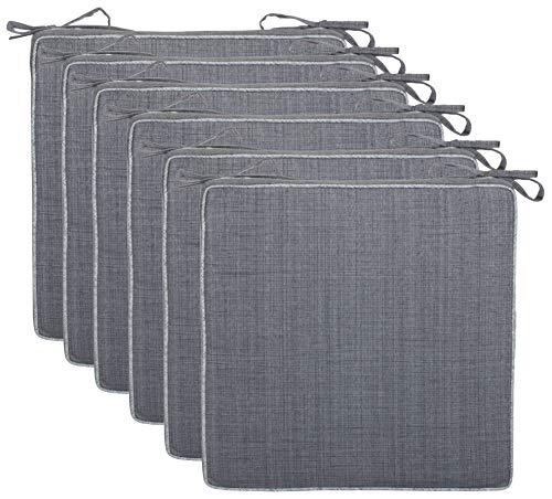 Brandsseller Outdoor Garten Sitzkissen Auflagen Kissen mit Paspel - Leinenoptik Uni - Schmutz- und Wasserabweisend mit Befestigungsbändern - 40 x 40 x 4 cm (6er-Vorteilspack, Grau)