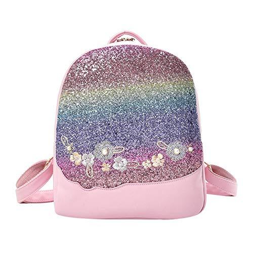 Demiawaking Zaino con Paillettes Glitterati Borsa da Viaggio Floreali Borsa da Scuola Casual Donna Ragazze (Rosa)