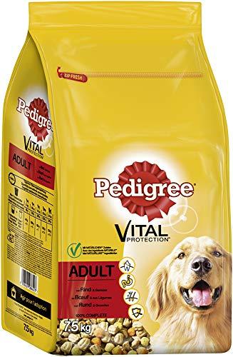 Pedigree Hundefutter Trockenfutter Adult mit Rind und Gemüse, 1 Beutel (1 x 7,5kg)