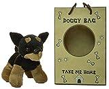 fun stuff 5 Inch Doberman Pinscher Plush Dog with Doggie Bag