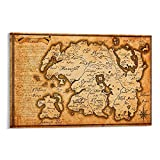 FEIWU Póster de The Elder Scrolls - Póster de mapa del mundo de Skyrim en lienzo para pared de 20 x 30 cm