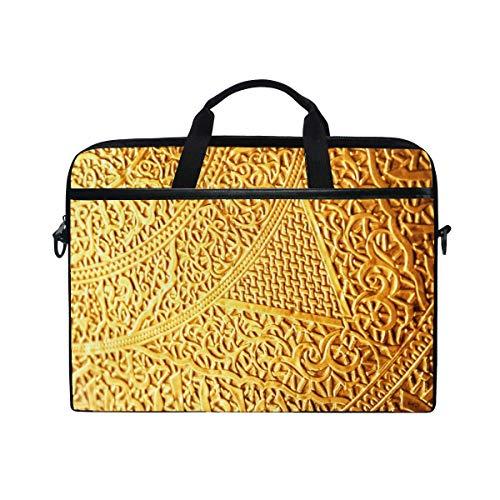 Gold Pattern Ligature Runes Weaving Ancient Plexus Laptop Shoulder Messenger Bag Case Sleeve 14 Inch to 15.6 Inch Adjustable Notebook Shoulder Strap
