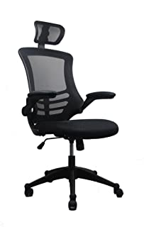 Modern High-Back Mesh Executive Chair With Headrest And Flip Up Arms. Color: Black