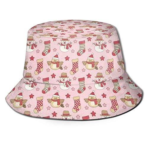 BUXI Printing Fishing Hat,Winter Schneemann Fischer Sonnenhut, Personalisierte Druckeimer Sonnenhüte Für Camping Beach Urlaub