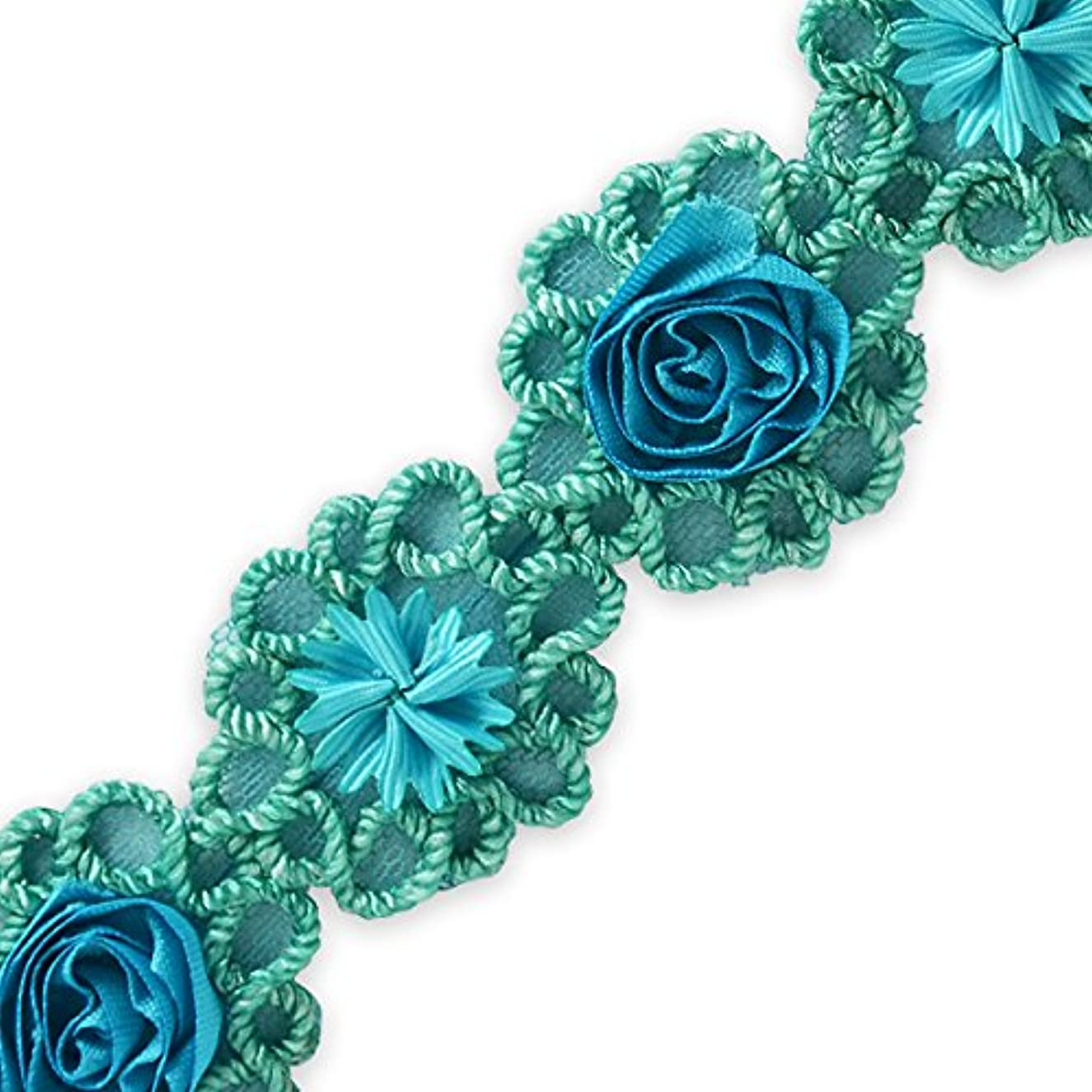 Expo IR8087TR-10 10 Yards of Rosette & Embroidery Flower Trim Turquoise